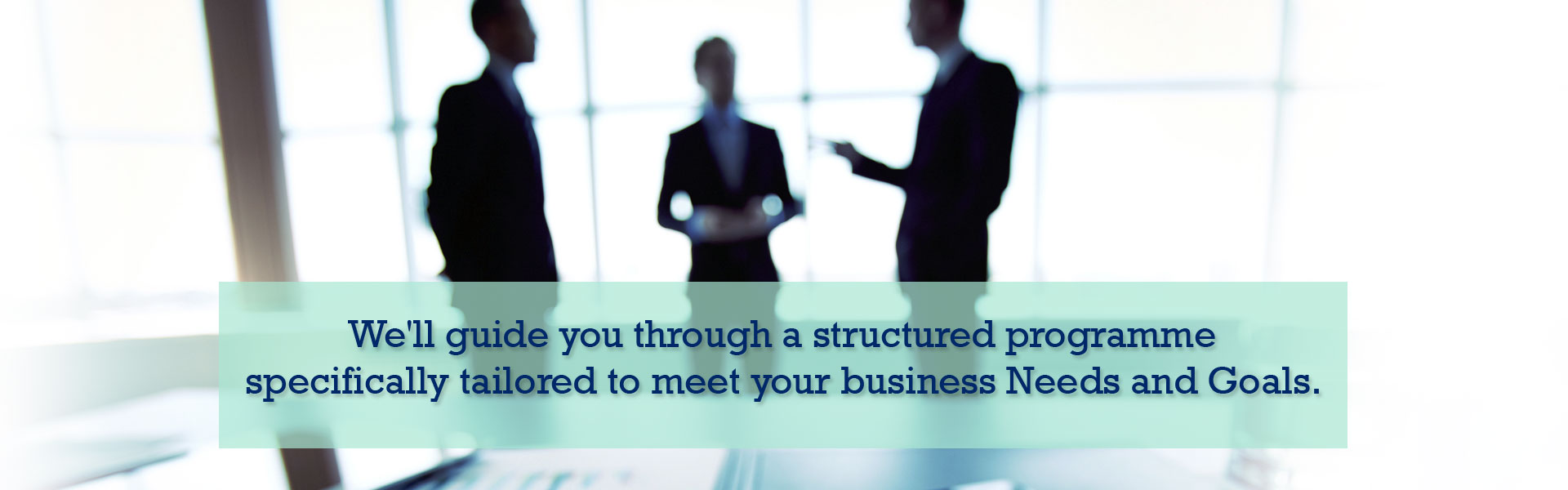We'll guide you through a structured programme specifically tailored to meet your business Needs and Goals.